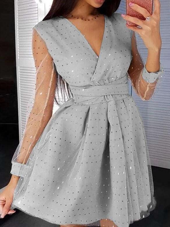 Fashion Sexy Grenadine Gored Sequins V neck Long sleeve Skater Dresses