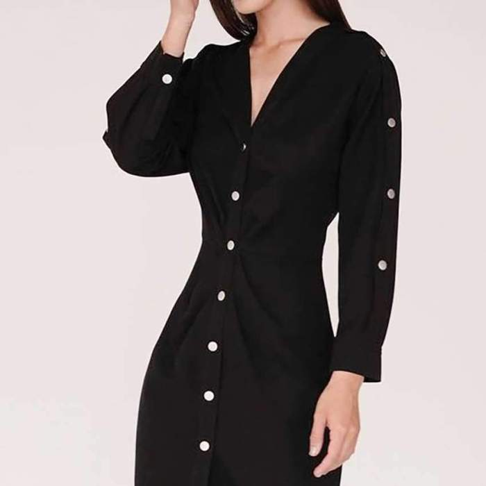 Fashion Elegant Pure V neck Long sleeve Fastener Skater Dresses