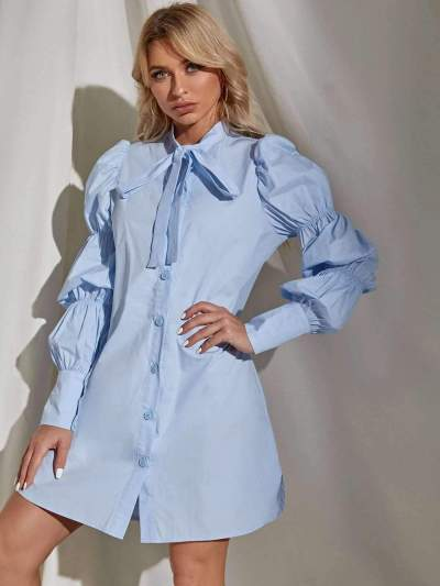 Stylish Pure Bow tie Puff sleeve Shirt Shift Dresses