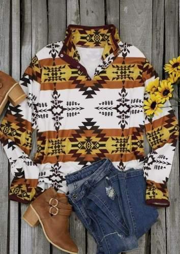 Fashion Casual Geometry print High collar Long sleeve Sweatshirts