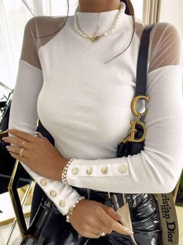 Fashion Pure Grenadine Gored High collar Long sleeve T-Shirts
