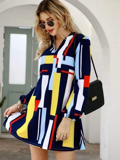 Casual Loose Print V neck Long sleeve Shift Dresses