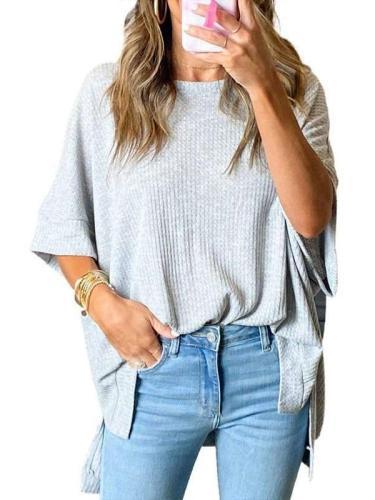 Casual Loose Pure Knit Half sleeve Irregular T-Shirts