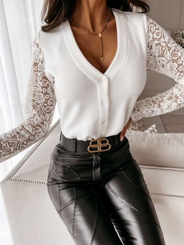 Elegant Pure V neck Lace Gored Long sleeve Fastener Cardigan T-Shirts