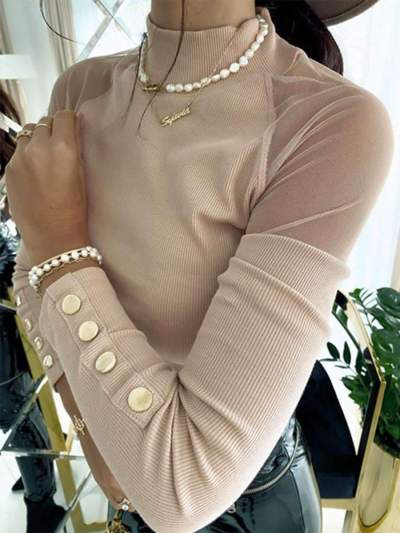 Fashion Pure Grenadine Gored High collar Long sleeve T-Shirts