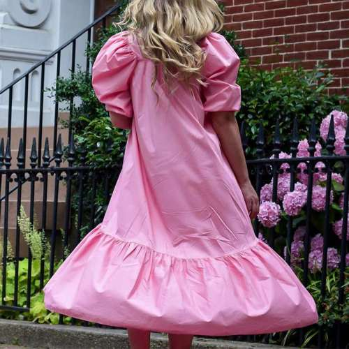 Fashion Casual Pure Square collar Short sleeve Maxi Dresses