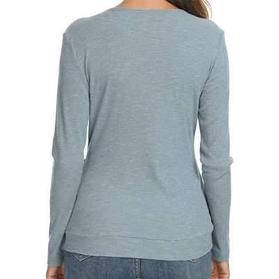 Fashion Pure V neck Long sleeve Fastener T-Shirts