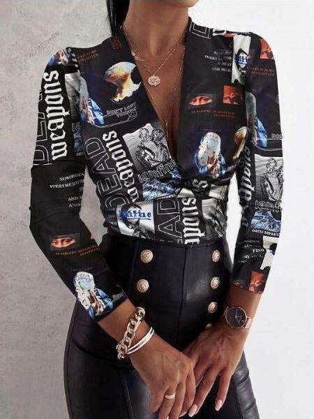 Sexy Print V neck Long sleeve Blouses