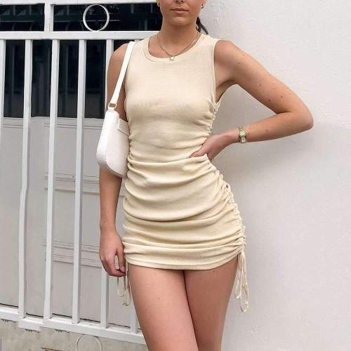 Sexy Pure Round neck Sleeveless Lacing Bodycon Dresses