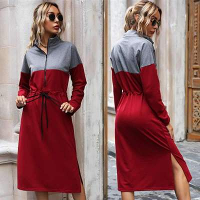 Stylish Gored Stand collar Long sleeve Lacing Skater Dresses
