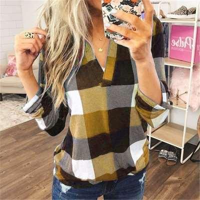Casual Plaid print V neck Long sleeve Blouses