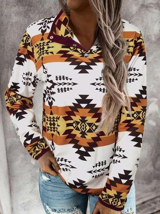Fashion Casual Geometry print High collar Long sleeve Sweatshirts