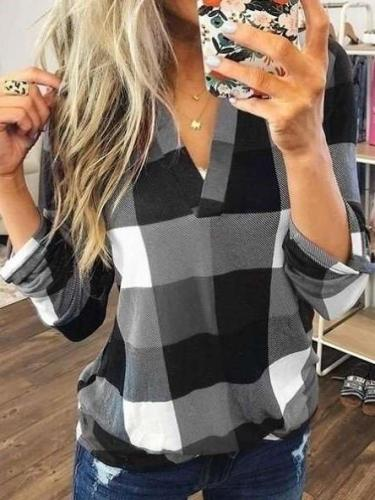 Casual Plaid print V neck Long sleeve Blouses
