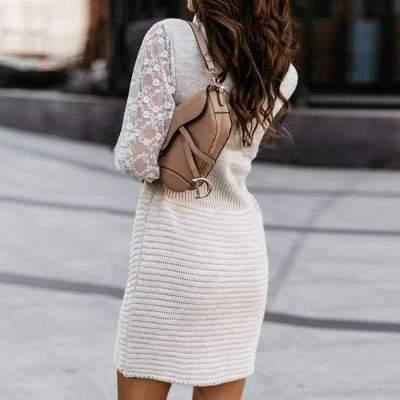 Fashion Pure Lace Gored V neck Long sleeve Knit Skater Dresses
