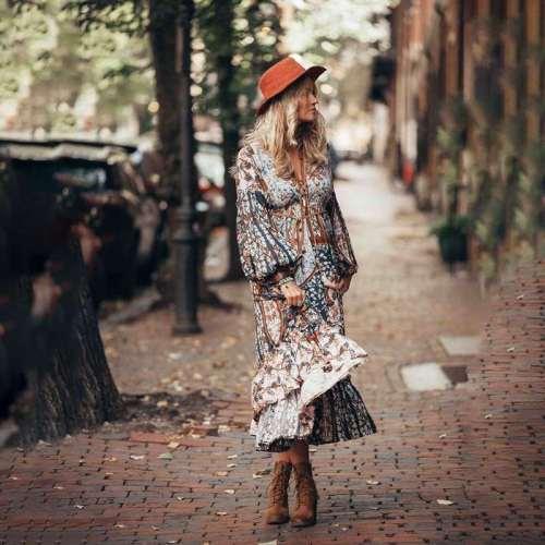 Casual Print V neck Long sleeve Lacing Maxi Dresses