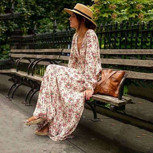Stylish Floral print V neck Long sleeve Maxi Dresses