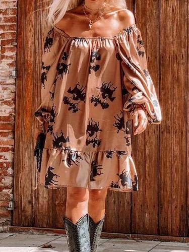 Casual Loose Print One shoulder Long sleeve Gored Falbala Shift Dresses