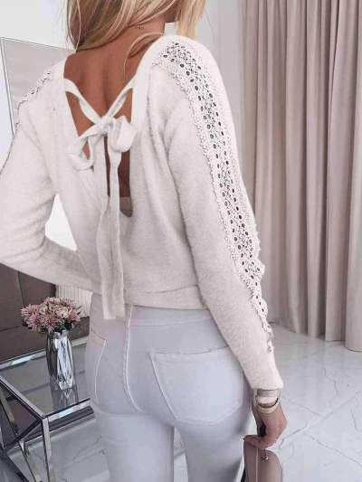 Casual Pure Round neck Backless Hoolow out Long sleeve T-Shirts