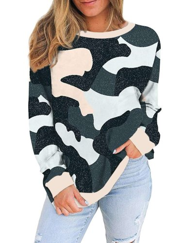 Print Round neck Long sleeve Sweatshirts T-Shirts