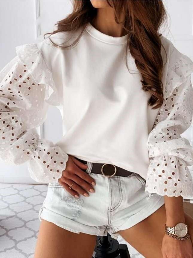 Casual Pure Round neck Falbala Long sleeve T-Shirts