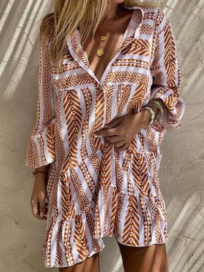 Casual Stripe print V neck Long sleeve Shift Dresses