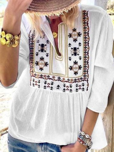 Casual Loose Embroidery V neck Long sleeve Blouses