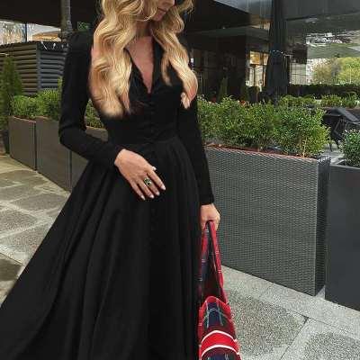 Fashion Pure Lapel Long sleeve Fastener Skater Maxi Dresses