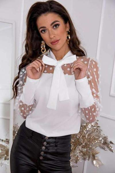 Fashion Sexy Pure Grenadine Gored Bow tie Long sleeve Blouses