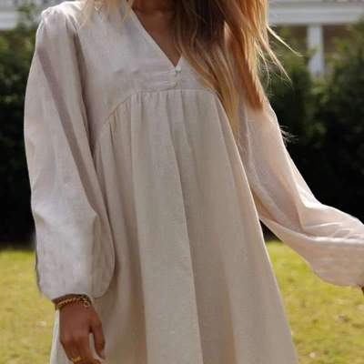 Casual Loose Pure V neck Long sleeve Shift Dresses