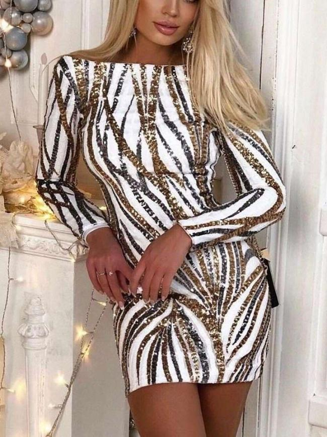 Fashion Sexy Stripe print One shoulder Long sleeve Backless Bodycon Dresses