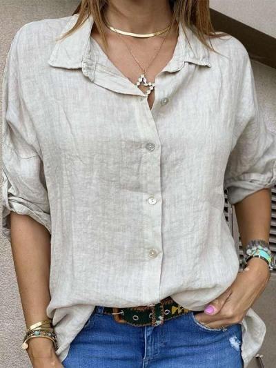 Casual Pure Lapel Long sleeve Blouses