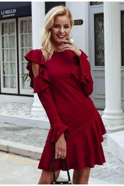 Sexy Pure Round neck Off shoulder Long sleeve Falbala Bodycon Dresses