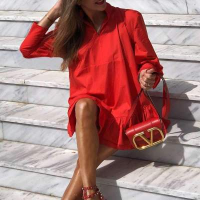 Pure Loose Stand collar Long sleeve Gored Falbala Shift Dresses