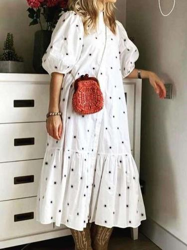 Casual Loose Point print Stand collar Half sleeve Gored Maxi Dresses