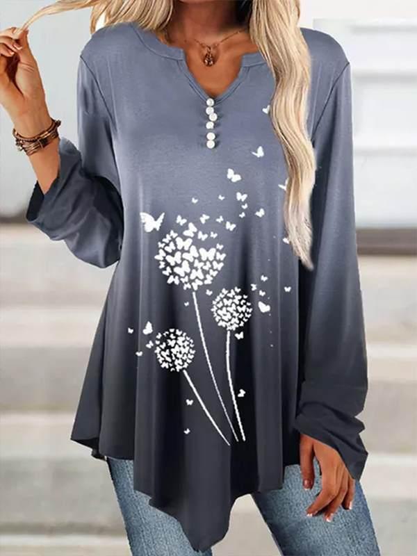 V neck printed long sleeve irregular hem T-shirts