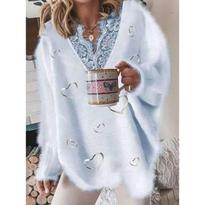 Casual Loose Lace Gored V neck Long sleeve Plush Sweaters