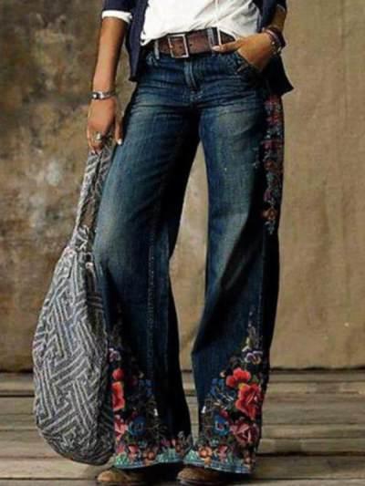 Women Wide leg pants Casual jeans