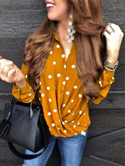 Casual Point print V neck Long sleeve Blouses