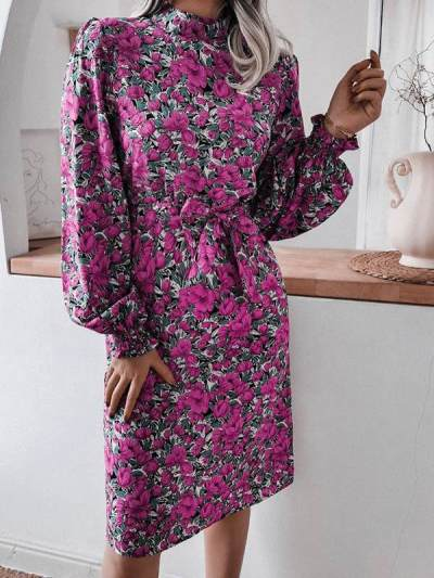Fashion Floral stand collar lantern sleeve long sleeve chiffon skater dresses