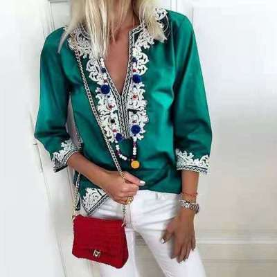 Fashion Casual Floral print V neck Three quarter sleeve Blouses