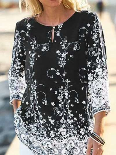 Casual Floral print Round neck Three quarter sleeve T-Shirts