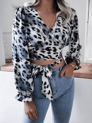 V neck leopard printed women tie bowknot waisted long sleeve blouses