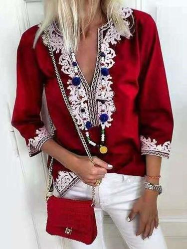 Fashion Casual Floral print V neck Three quarter sleeve Blouses