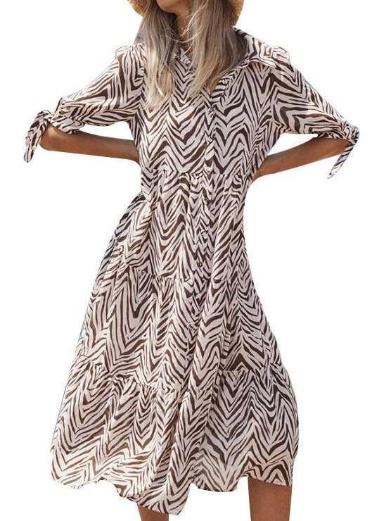 Fashion Stripe print Lapel Half sleeve Maxi Dresses