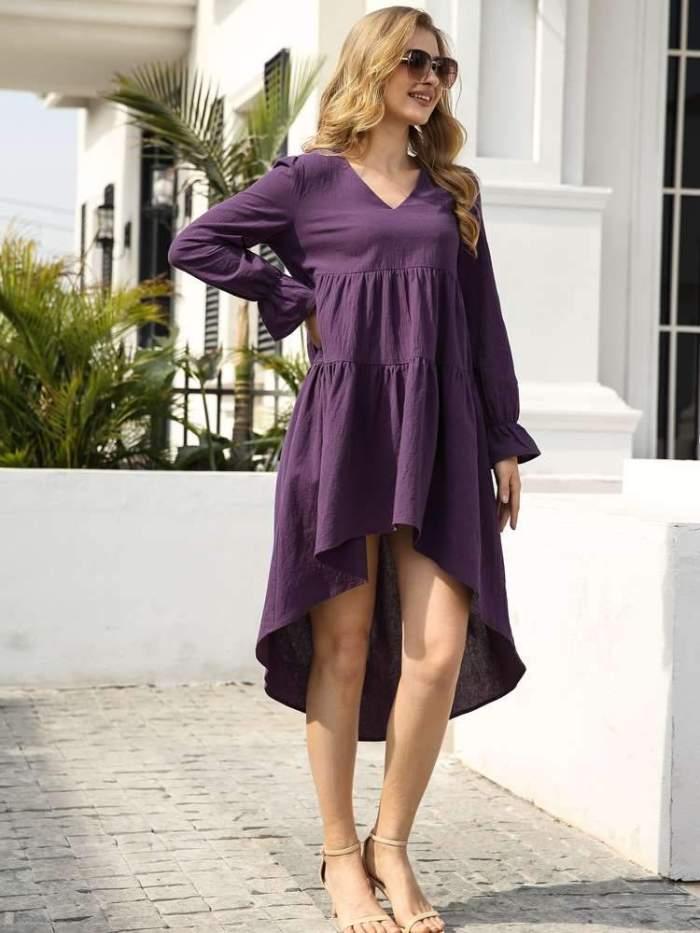 Casual Loose Pure Gored V neck Long sleeve Irregular Maxi Dresses