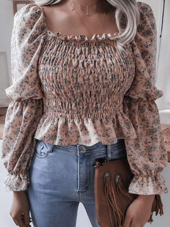 Fashion Floral print Fold Falbala Square collar Long sleeve Blouses