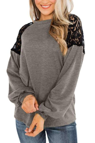 Casual Lace Gored Round neck Long sleeve T-Shirts