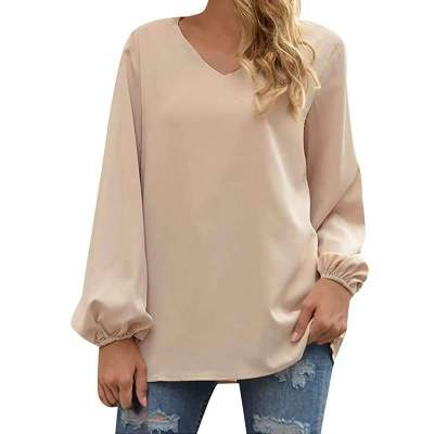 Fashion Pure V neck Long sleeve T-Shirts