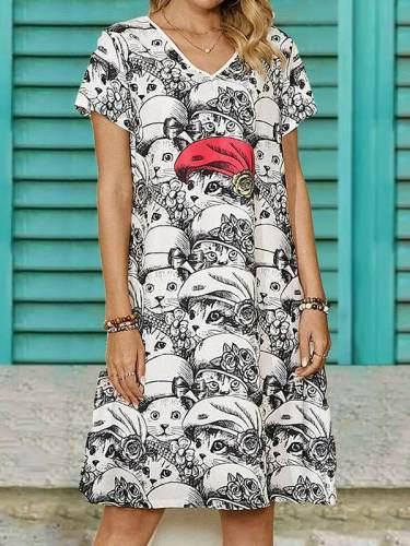 V neck fashion cat printed women shift dresses