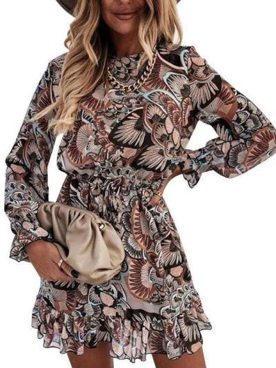 Fashion Print Round neck Long sleeve Skater Dresses